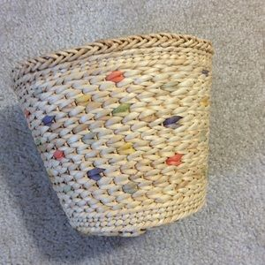 Woven Wastebasket rainbow colors throughout